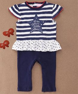 Luvena Fortuna Girls Sleepsuit Without Feet - Navy