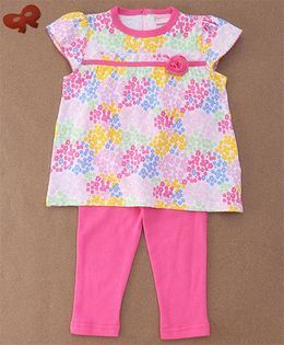 Luvena Fortuna Floral T-Shirt & Pants Set - Pink