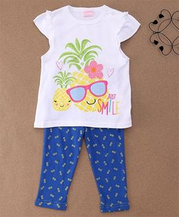 Luvena Fortuna Pineapple T-Shirt & Pants - White & Blue