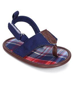 Luvable Friends Plaid Sandals - Navy