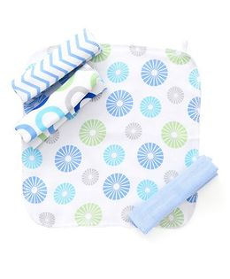 Luvable Friends Printed Set Of 4 Wash Cloth - White & Sky Blue