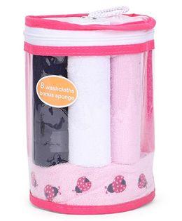 Hudson Baby Set Of 8 Wash Cloths & Bonus Sponge - Pink
