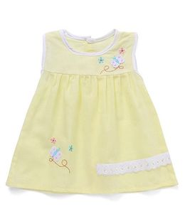 Chocopie Sleeveless Frock Floral Embroidery - Yellow