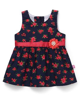 Chocopie Sleeveless Frock Floral Printed - Red & Navy