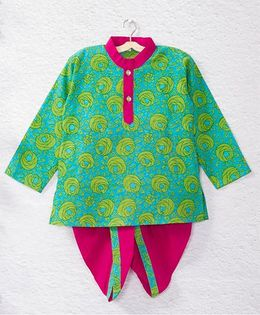Kidcetra Rose Printed Kurta With Contrast Dhoti - Pink & Green