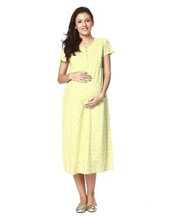 Nine Short Sleeves Maternity Nursing Gown - Yellow