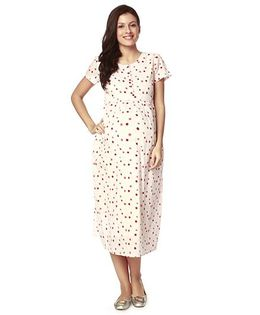 Nine Short Sleeves Maternity Nursing Gown Polka Dot Print - Off White
