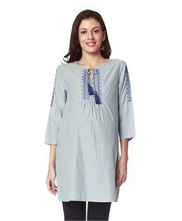 Nine Maternity Cotton Tunic With Designer Yoke - Blue