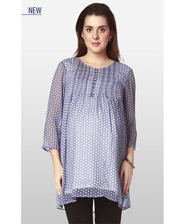 Nine Three Fourth Sleeves Maternity Wear Printed Polyester Tunic - Blue