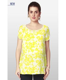 Nine Half Sleeves Maternity Wear Floral Print N Jersey Blouse - Yellow