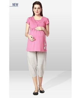 Nine Maternity Wear Sleep Suit - Pink Light Grey