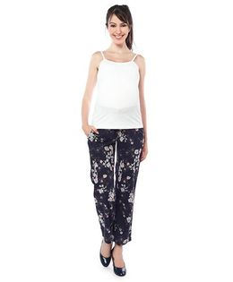 Nine Maternity Singlet Top And Printed Pajama Nightwear - White Deep Navy