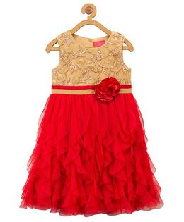 Toy Balloon Sleeveless Party Wear Frock - Red