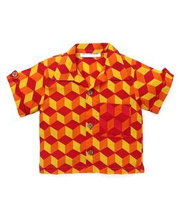 Eight Thousand Miles Classic Shirt With Contrast Pocket For Boys - Red & Yellow