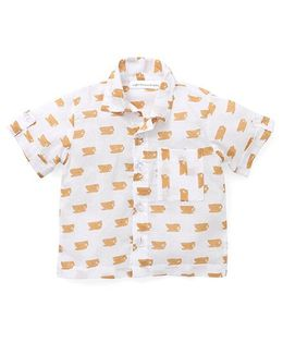 Eight Thousand Miles Cup Print Boys Half Sleeves Shirt - White & Brown