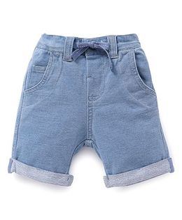 Fox Baby Plain Shorts With Drawstring - Light Blue