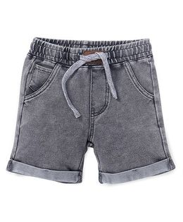Fox Baby Plain Turn Up Shorts With Drawstring - Grey