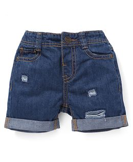 Fox Baby Plain Solid Color Shorts - Blue