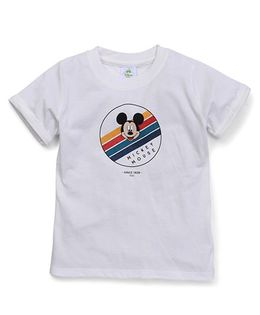 Fox Baby Half Sleeves Tee With Mickey Mouse Print - Off White