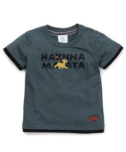 Fox Baby Boys Half Sleeves T-Shirt With Lion Print - Army Grey