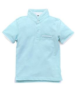 Highflier Mandarin Collar Polo With Contrast Trim - Sea Green