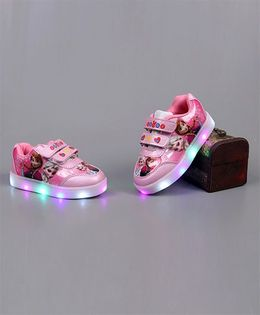 Little Maira LED Stylish Cartoon Applique Shoes - Dark Pink