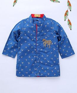 Shruti Jalan Bird Printed Kurta With Horse Zardozi Work - Blue