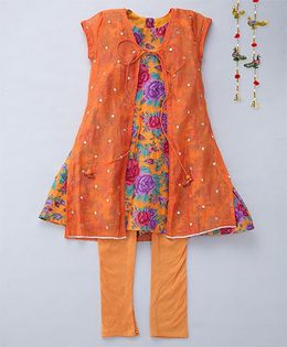 Shruti Jalan Amlawork Kurta With Floral Printed Inner & Churidar - Orange