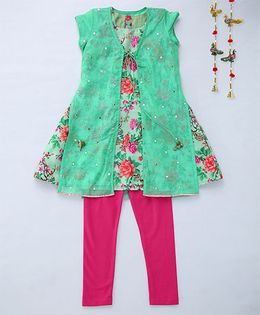 Shruti Jalan Amlawork Kurta With Floral Printed Inner & Churidar - Green