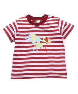 Baby Yi Elephant Embroidery Tee With Stripes Print - White & Maroon