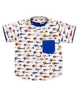 Raghav Airplane Printed Shirt With Contrast Pocket - Multicolour