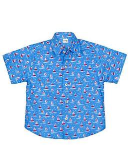 Raghav Boat Printed Shirt - Blue