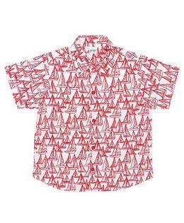 Raghav Sailor Ship Printed Shirt - Red