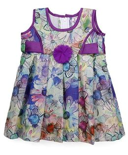 Mom's Girl Flower Applique Pleated Dress - Purple