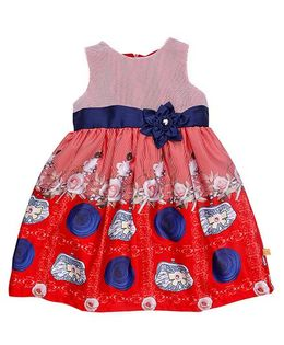 Yellow Duck Sleeveless Frock Printed With Net Yoke And Applique - Red Navy