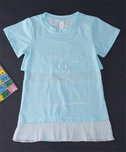 Happy Childhood Thanks Mommy Print Dress - Blue