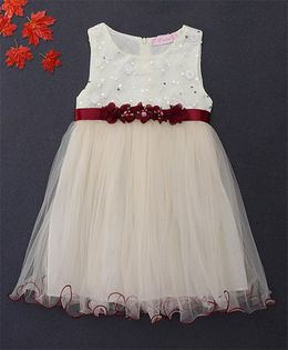 Fen Cai Dress With Flowers Embellished At Waist - Cream