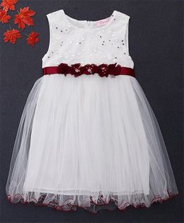 Fen Cai Dress With Flowers Embellished At Waist - White