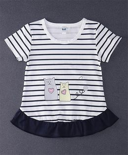 Happy Childhood Love Cat Print  Striped Top - Navy Blue & White