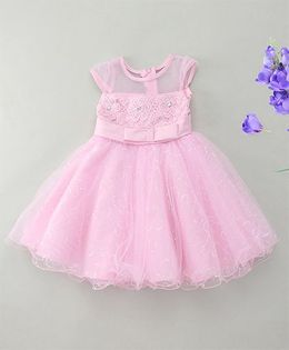 Fashion Collection By Meggie Cap Sleeves Diamonte Net Party Dress With Bow - Pink