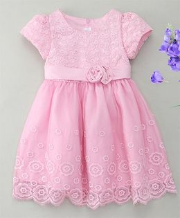 Fashion Collection By Meggie Cap Sleeves Embroidered Net Party Dress With Rose - Pink