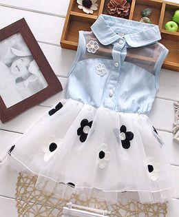 Wonderland Denim Top Flower Applique Tutu Dress - Blue & White