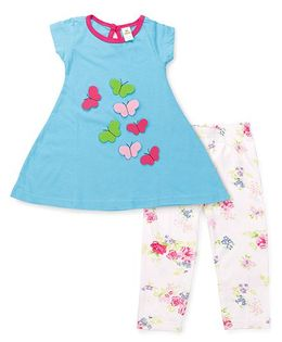 Tiny Bee Butterfly Detailing Top & Leggings - Turquoise Blue