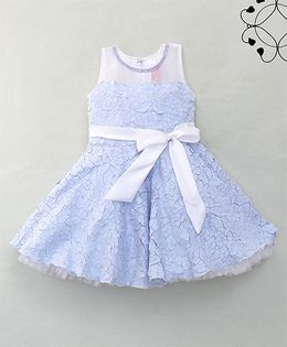 Eiora Elegant Flower Design Dress With Bow - Light Blue