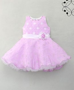Eiora Beautiful Party Dress With Rose Design - Purple