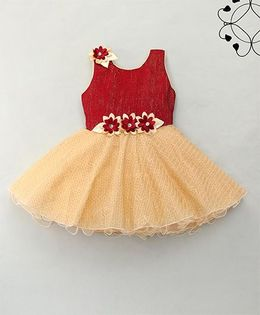 Eiora Flower Design Party Dress - Maroon & Fawn