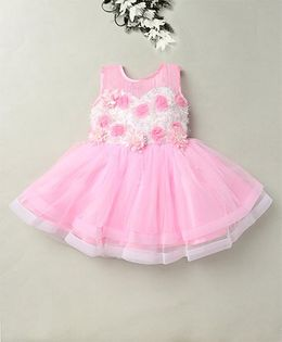 Eiora Party Wear Dress With The Beautiful Color Combination - Pink & White