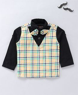 Knotty Kids Full Sleeves Checkered Shirt With A Bow - Yellow And Green