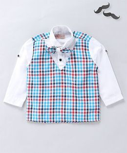 Knotty Kids Full Sleeves Checkered Shirt With A Bow - Blue And Red