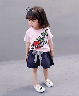 Pre Order - Awabox Flower Embroidered Top & Shorts Set - Baby Pink